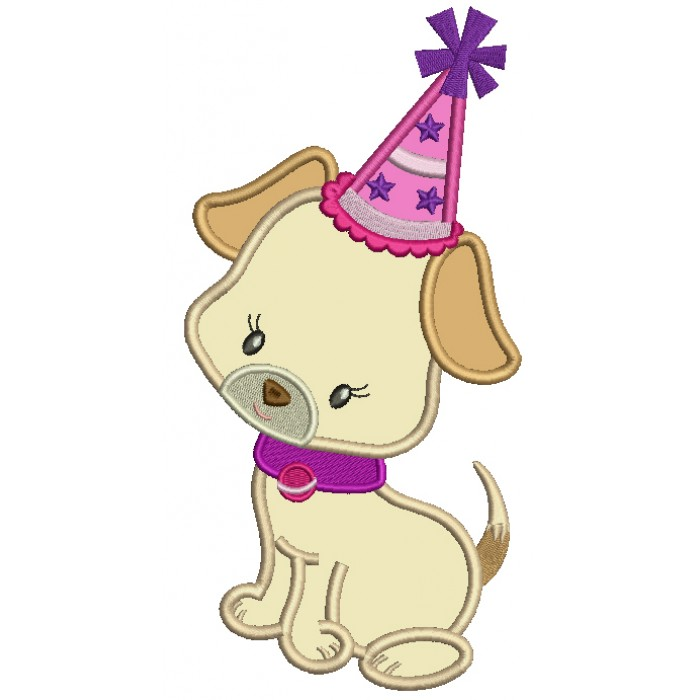 Cute Birthday Puppy Applique Machine Embroidery Design Digitized Pattern