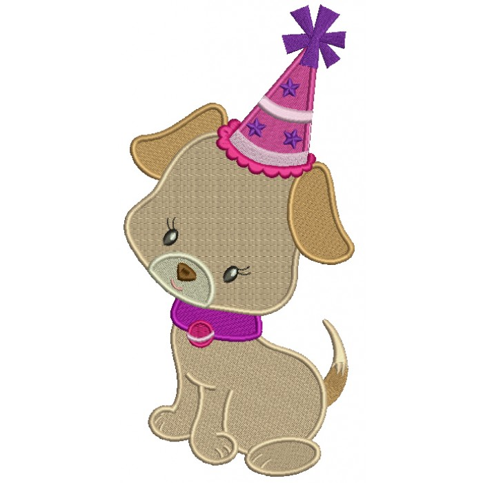 Cute Birthday Puppy Filled Machine Embroidery Design Digitized Pattern
