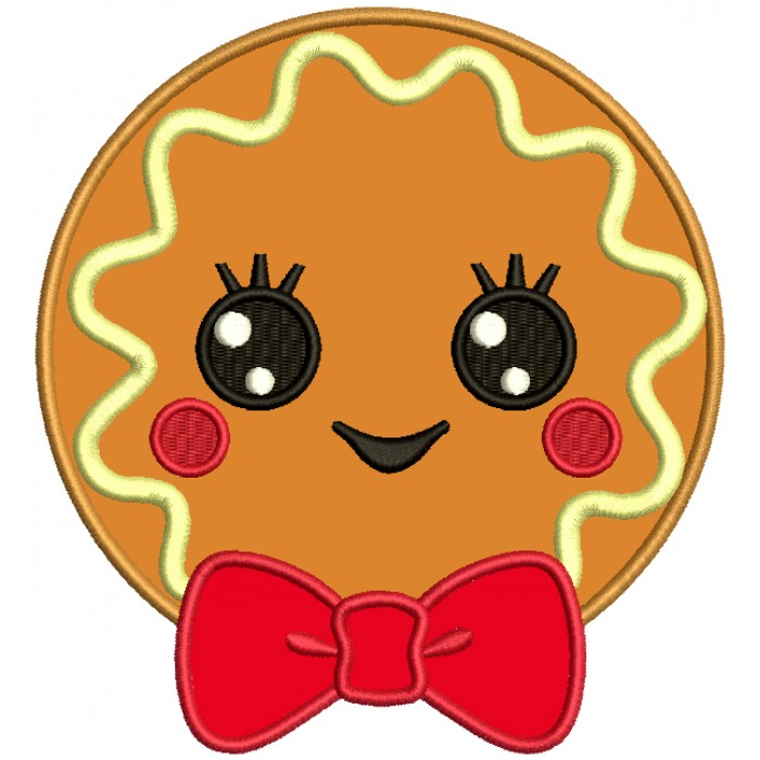 Cute Boy Cookie With a Huge Bow Applique Machine Embroidery Design Digitized Pattern
