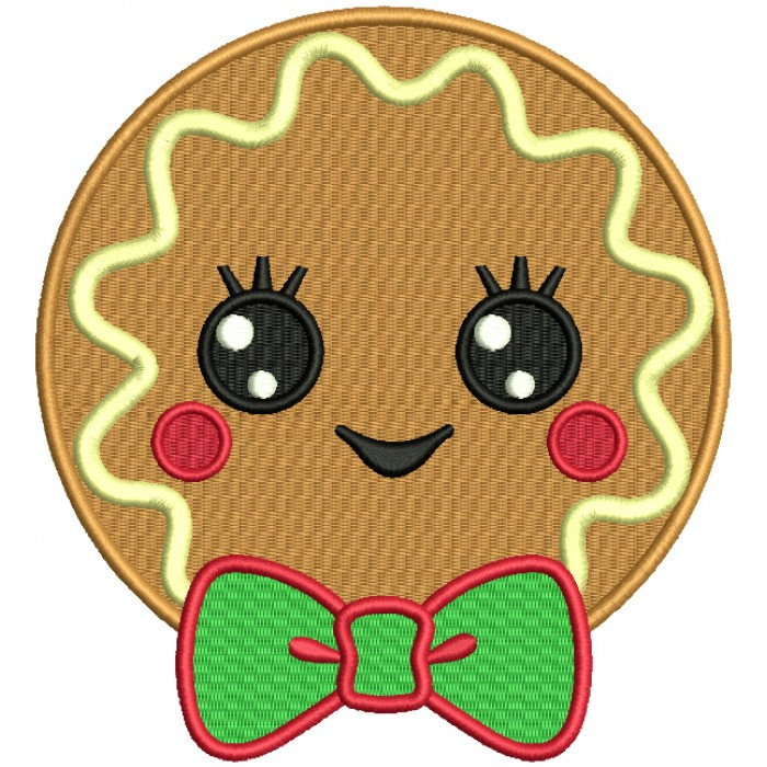 Cute Boy Cookie With a Huge Bow Filled Machine Embroidery Design Digitized Pattern
