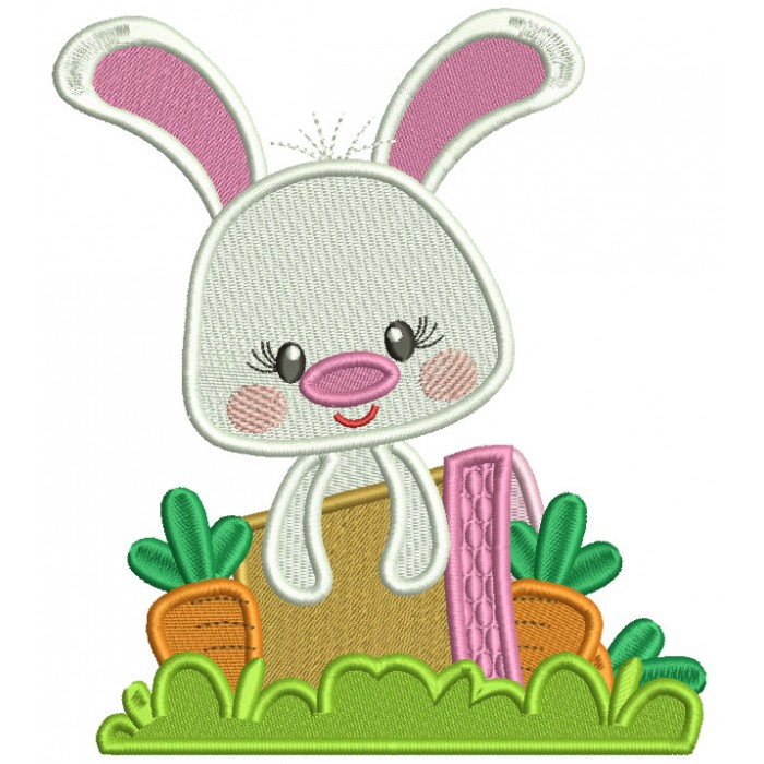 Cute Bunny With Flower Pot Filled Easter Machine Embroidery Design Digitized Pattern