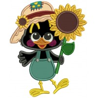 Cute Crow Holding a Sunflower Applique Filled Thanksgiving Machine Embroidery Design Digitized Pattern
