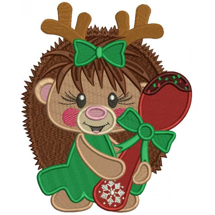 Cute Hedgehog Holding a Spoon Filled Christmas Machine Embroidery Design Digitized Pattern