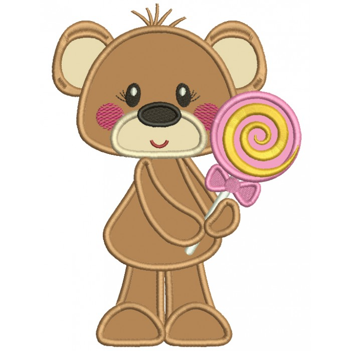 Cute Little Bear Girl Holding Lollipop Applique Machine Embroidery Design Digitized Pattern