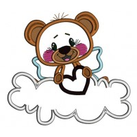 Cute Little Bear Sitting On A Cloud Holding a Big Heart Applique Machine Embroidery Design Digitized Pattern