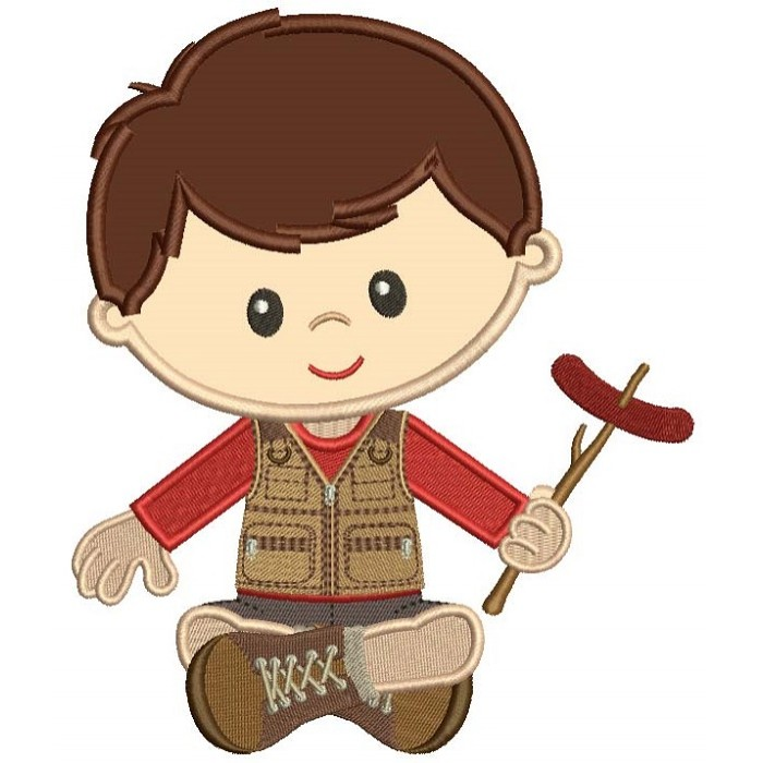 Cute Little Boy Camping Holding Sausage On The Stick Applique Machine Embroidery Design Digitized Pattern
