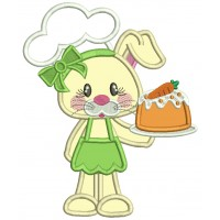 Cute Little Bunny Cook Easter Applique Machine Embroidery Design Digitized Pattern