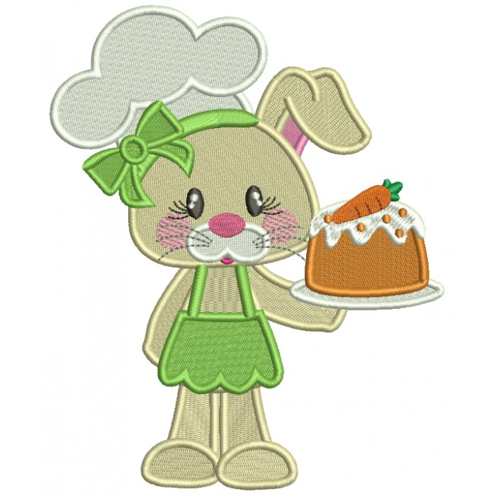 Cute Little Bunny Cook Easter Filled Machine Embroidery Design Digitized Pattern