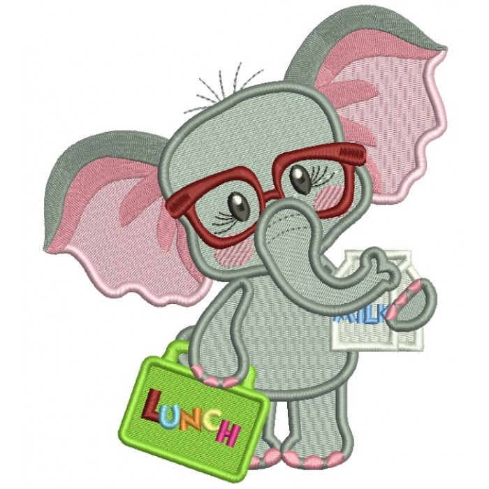 Cute Little Elephant Holding a Lunch Box Back To School Filled Machine Embroidery Design Digitized Pattern