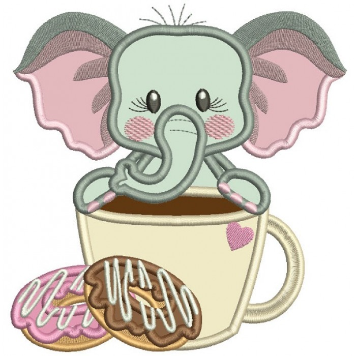 Cute Little Elephant Standing Behind A Coffee Cup Applique Machine Embroidery Design Digitized Pattern