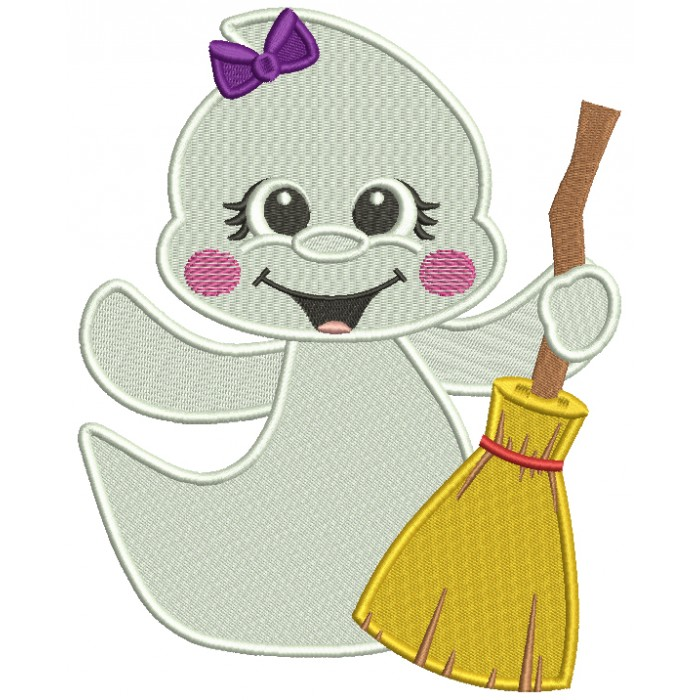Cute Little Ghost Holding a Broom Halloween Filled Machine Embroidery Design Digitized Pattern