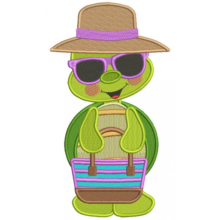 Cute Little Turtle Wearing Sunglasses Filled Machine Embroidery Design Digitized Pattern