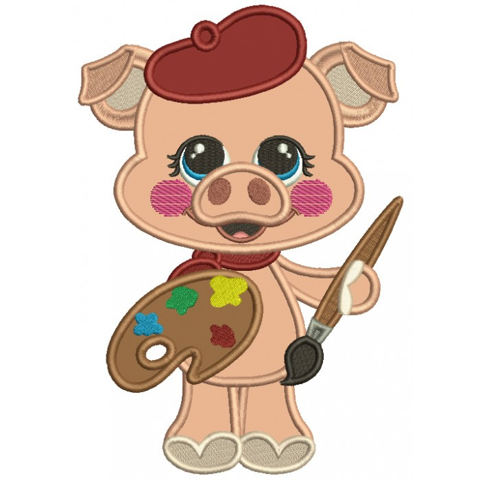 Cute Piggy Artist Applique Machine Embroidery Design Digitized Pattern