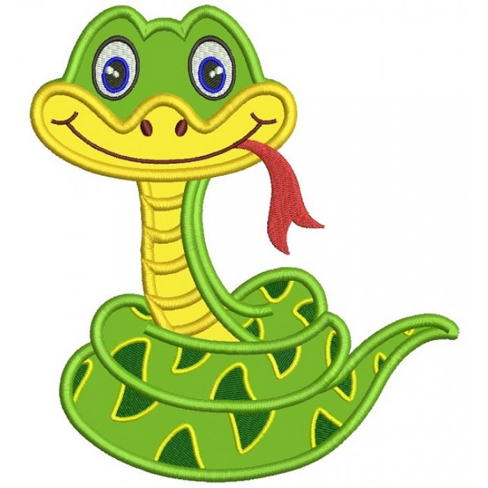 Cute Smiling Snake Applique Machine Embroidery Design Digitized Pattern