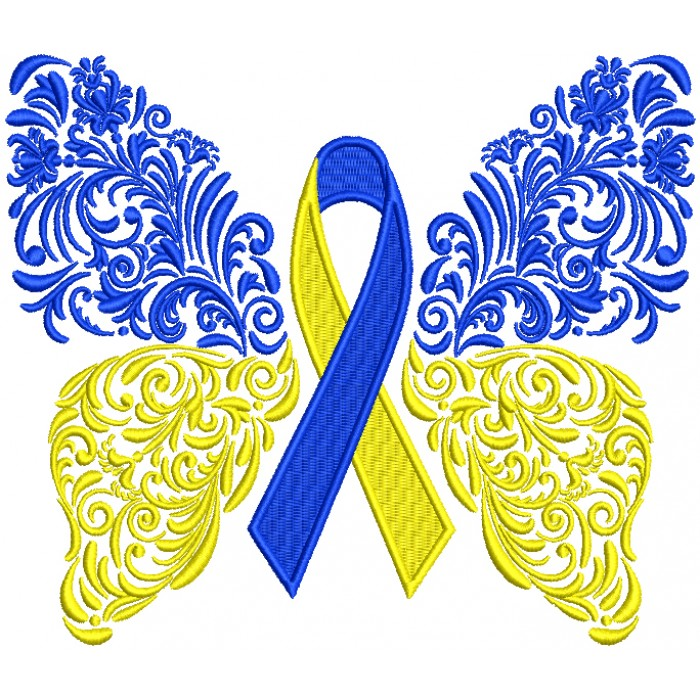 Down Syndrome Ornate Butterfly Filled Machine Embroidery Design Digitized Pattern