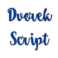 Dvorek Script Machine Embroidery Font Upper and Lower Case 1 2 3 inches