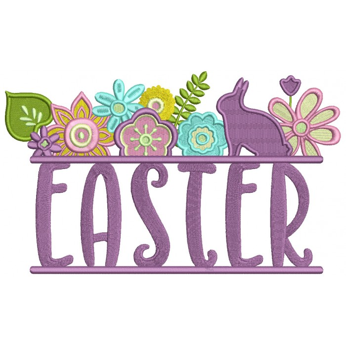 Easter Frame With a Bunny Filled Machine Embroidery Design Digitized Pattern