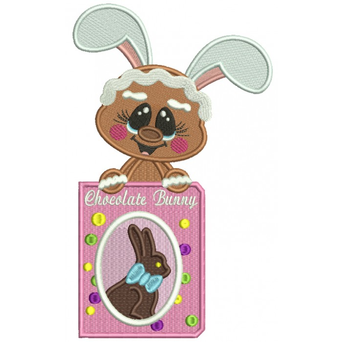 Easter Gingerbread Man Holding Chocolate Bunny Filled Machine Embroidery Design Digitized