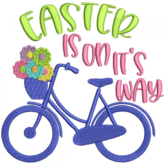 Easter Is On It's Way Bicycle Filled Machine Embroidery Design Digitized Pattern
