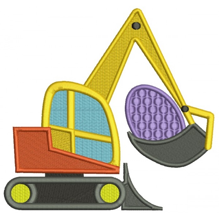 Excavator With An Easter Egg Filled Machine Embroidery Design Digitized Pattern