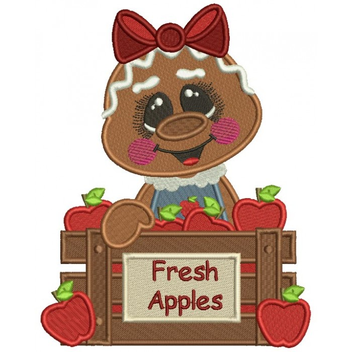 Gingerbread Girl With Fresh Apples Fall Filled Thanksgiving Machine Embroidery Design Digitized Pattern