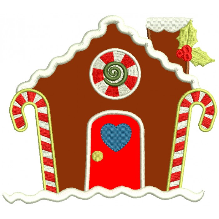 Gingerbread House With Heart On The Door Christmas Applique Machine Embroidery Design Digitized Pattern