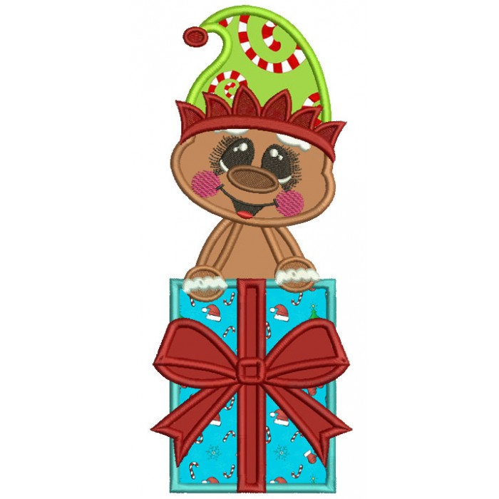 Gingerbread Man Holding Christmas Presents Applique Machine Embroidery Design Digitized Pattern