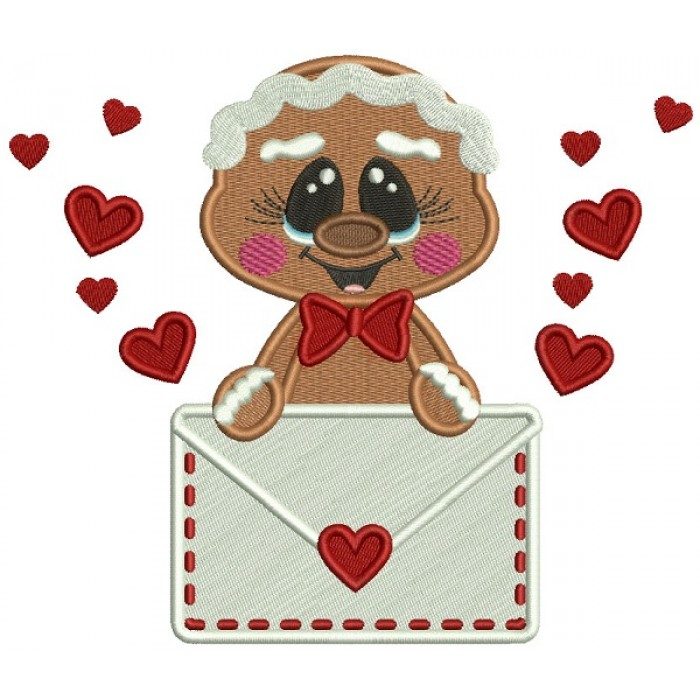 Gingerbread Man Holding Letter With Hearts Filled Machine Embroidery Design Digitized Pattern