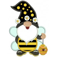 Gnome Bumble Bee Applique Machine Embroidery Design Digitized Pattern