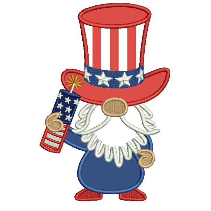 Gnome Holding Firecracker Independence Day Applique Machine Embroidery Design Digitized Pattern