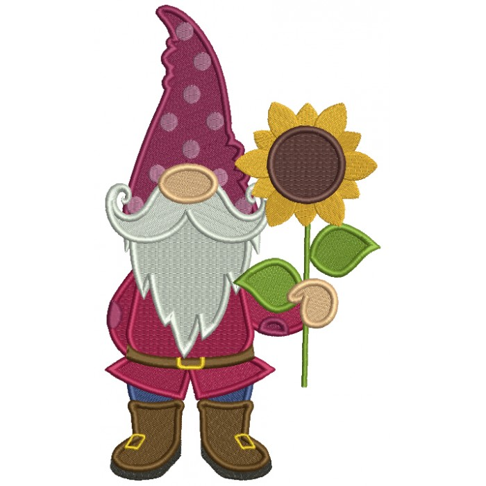 Gnome Holding Sunflower Filled Machine Embroidery Design Digitized Pattern