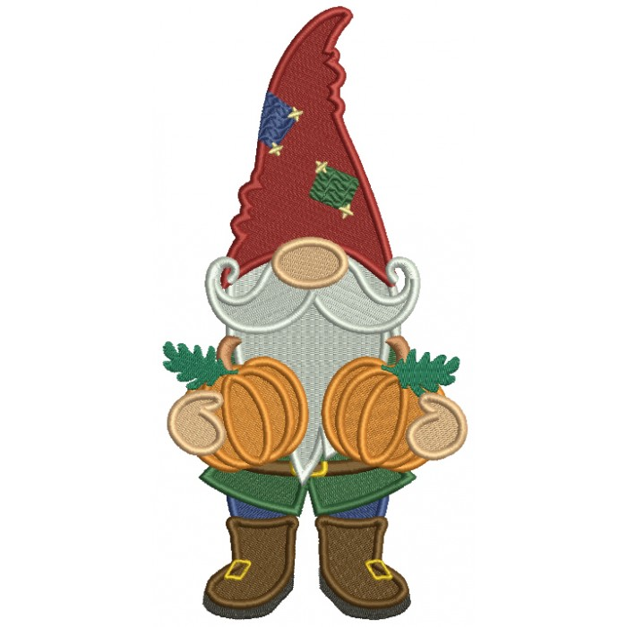 Gnome Holding Two Pumpkins Thanksgiving Filled Machine Embroidery Design Digitized Pattern
