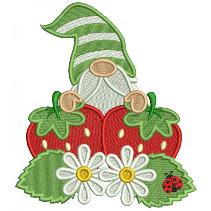Gnome With Strawberries And Daisies Filled Machine Embroidery Design Digitized Pattern