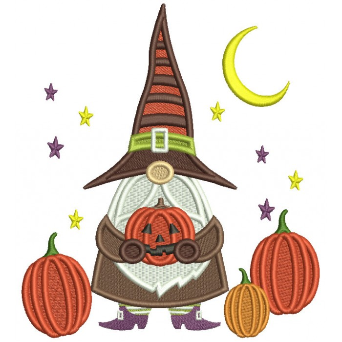 Gnome Wizard Holding Pumpkin With Stars And Moon Halloween Filled Machine Embroidery Design Digitized Pattern