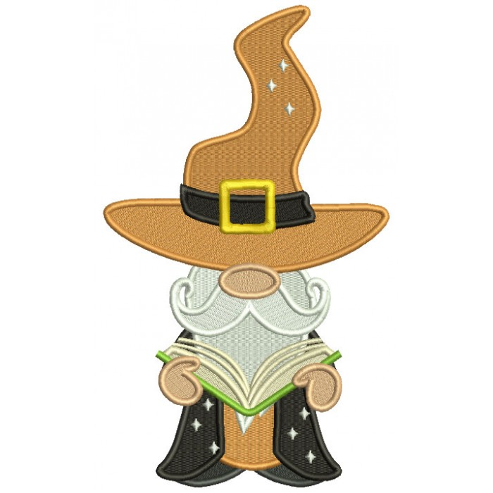 Gnome Wizard Reading a Book Halloween Filled Machine Embroidery Design Digitized Pattern