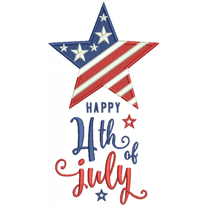 Happy 4th Of July Star With American Flag Patriotic Filled Machine Embroidery Digitized Design Pattern
