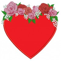 Heart With Decorative Flowers Applique Machine Embroidery Design Digitized Pattern