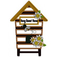 Home Sweet Home Honey Comb Applique Machine Embroidery Digitized Design Pattern