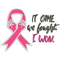 It Came We Fought I Won Applique Breast Cancer Awareness Machine Embroidery Design Digitized Pattern