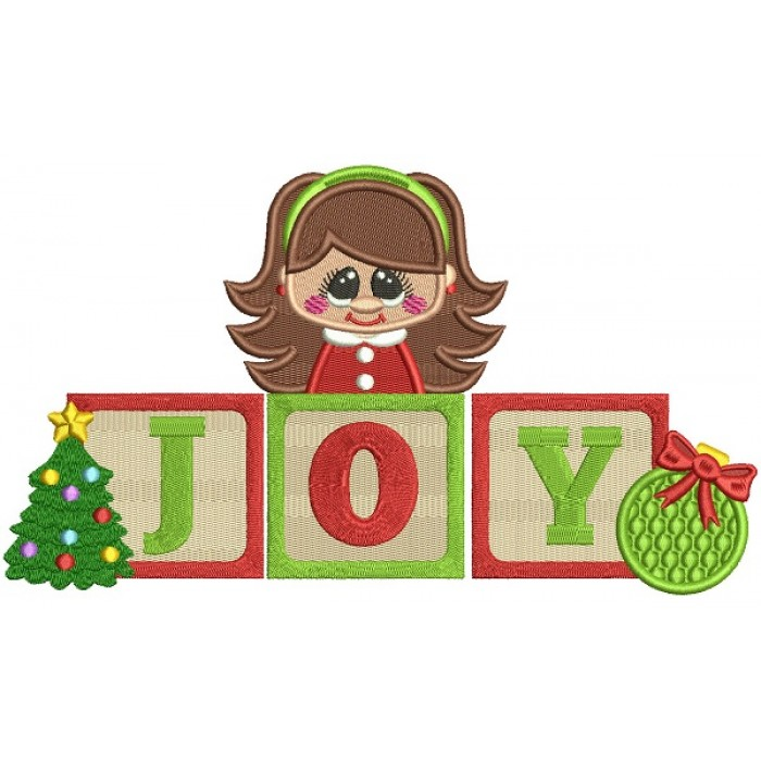 Little Girl Christmas Tree: JOY Little Girl With Word Blocks And Christmas Tree Filled
