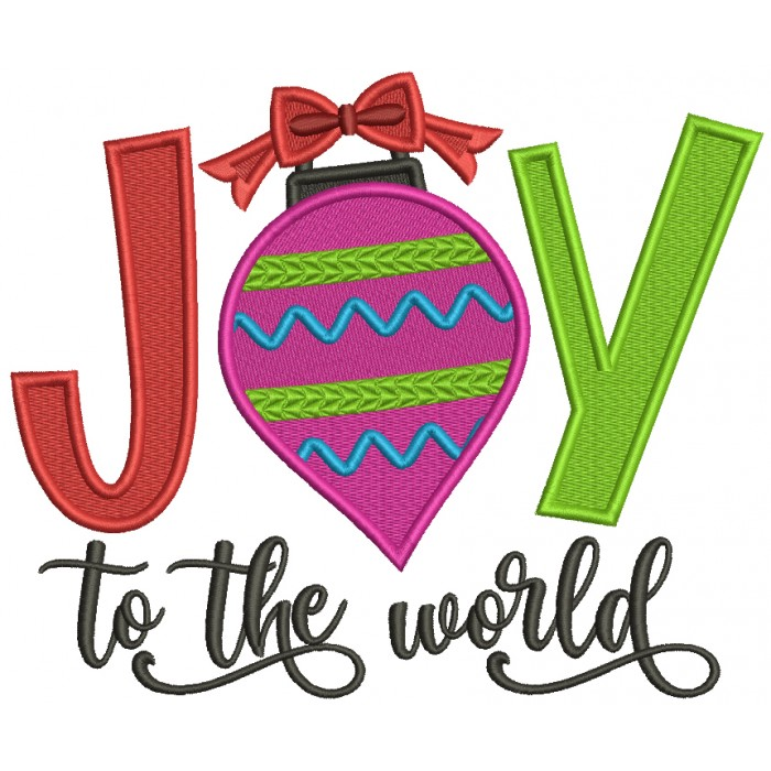 Joy To The World Red Bow Christmas Filled Machine Embroidery Design Digitized Pattern