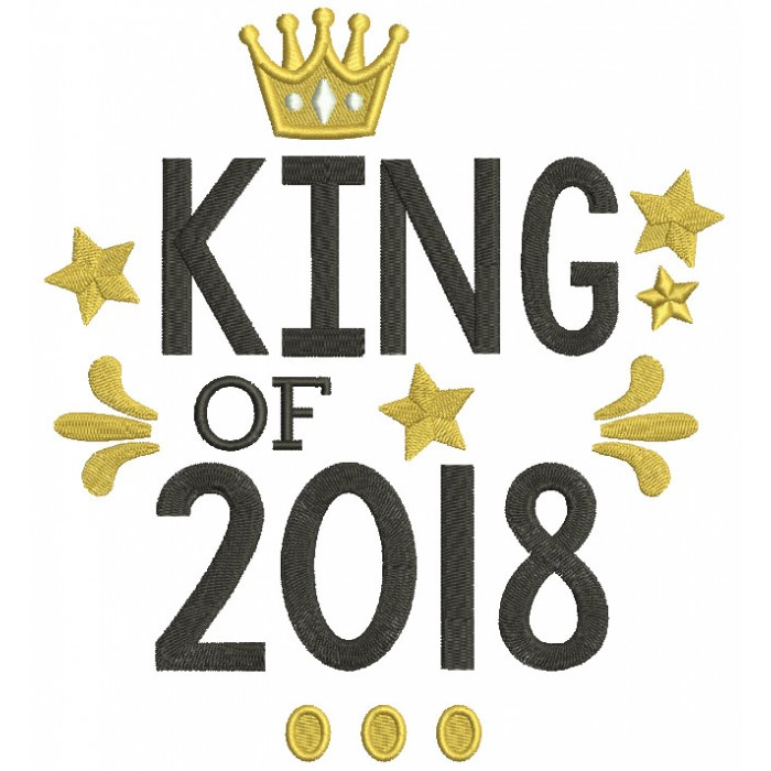 King Of 2018 New Year Filled Machine Embroidery Design Digitized Pattern