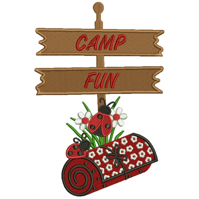 Ladybug Camp Fun Filled Machine Embroidery Design Digitized Pattern