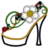 Lady's Shoe With Flower and Ladybug Applique Machine Embroidery Design Digitized Pattern