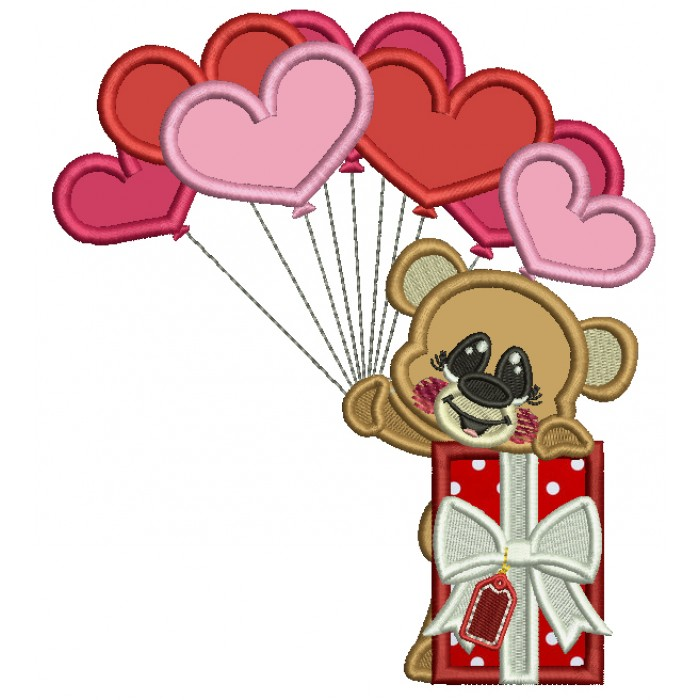 Little Bear Holding Heart Shaped Balloons Next To Gift Box Applique Machine Embroidery Design Digitized Pattern