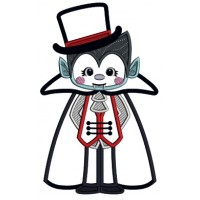 Little Boy Dressed In Dracula Costume Halloween Applique Machine Embroidery Design Digitized Pattern