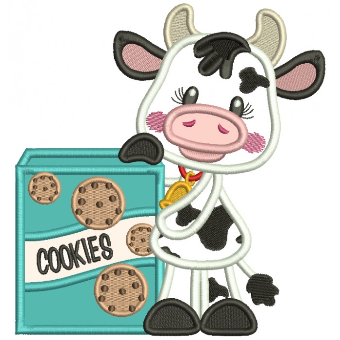 Little Cow With Cookies Applique Machine Embroidery Design Digitized Pattern