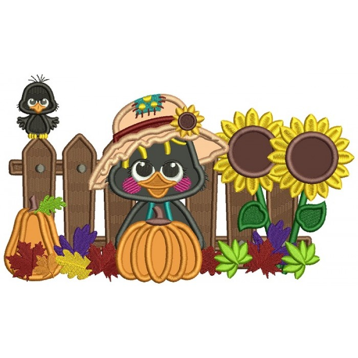 Little Crow With Pumpkin Sitting Next To a Wooden Fence Fall Applique Thanksgiving Machine Embroidery Design Digitized Pattern