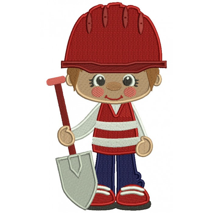 Little Cute Construction Boy Holding a Shovel Filled Machine Embroidery Design Digitized Pattern