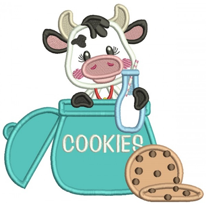 Little Cute Cow With Milk Sitting Inside Cookie Jar Applique Machine Embroidery Design Digitized Pattern